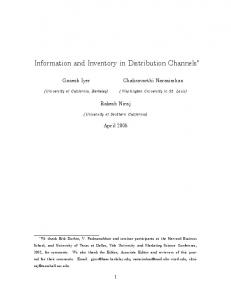 Information and Inventory in Distribution Channels