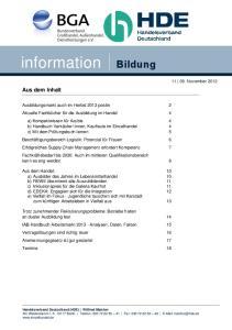 information Bildung Aus dem Inhalt November 2012