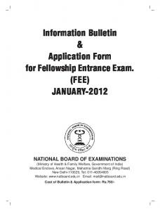 Information Bulletin & Application Form for Fellowship Entrance Exam. (FEE) JANUARY-2012
