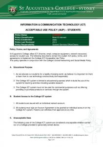 INFORMATION & COMMUNICATION TECHNOLOGY (ICT) ACCEPTABLE USE POLICY (AUP) STUDENTS
