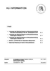Information der Abteilung Personal und Personalentwicklung - Berufliche Weiterbildung an der HU - Kursprogramm 2018 S. 2