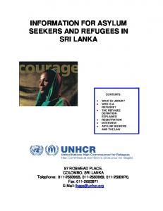 INFORMATION FOR ASYLUM SEEKERS AND REFUGEES IN SRI LANKA