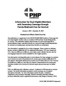 Information for Dual-Eligible Members with Secondary Coverage through Florida Medicaid (Fee-for-Service)