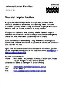 Information for Families. Financial help for families