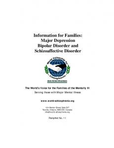 Information for Families: Major Depression Bipolar Disorder and Schizoaffective Disorder