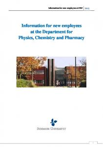 Information for new employees at FKF. Information for new employees at the Department for Physics, Chemistry and Pharmacy