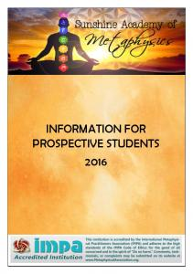 INFORMATION FOR PROSPECTIVE STUDENTS 2016