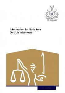 Information for Solicitors On Job Interviews