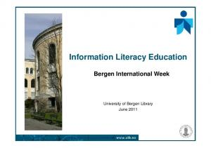 Information Literacy Education Bergen International Week