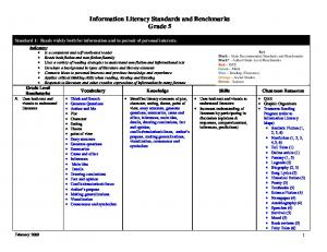 Information Literacy Standards and Benchmarks Grade 5