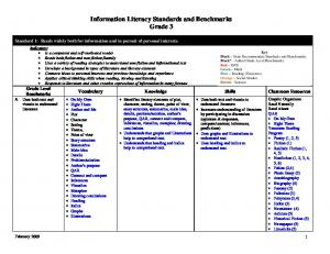 Information Literacy Standards and Benchmarks Grade 3