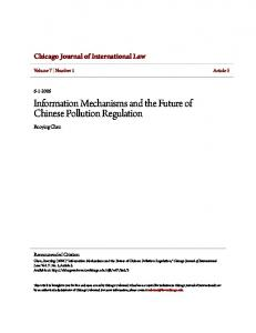 Information Mechanisms and the Future of Chinese Pollution Regulation