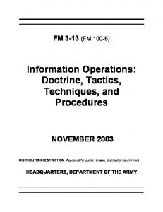 Information Operations: Doctrine, Tactics, Techniques, and Procedures