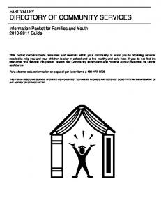 Information Packet for Families and Youth Guide
