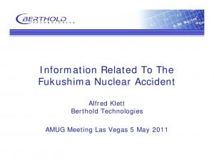 Information Related To The Fukushima Nuclear Accident