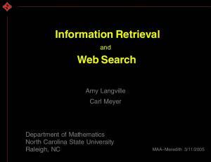 Information Retrieval. Web Search