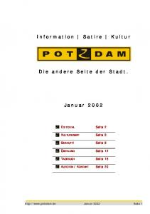 Information Satire Kultur. Die andere Seite der Stadt. Januar 2002