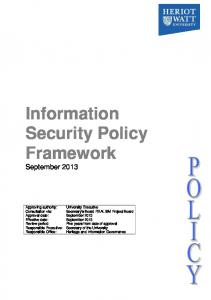Information Security Policy Framework September 2013