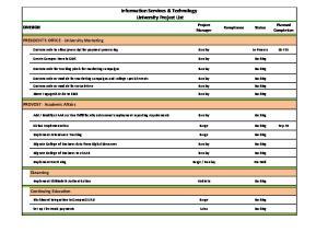 Information Services & Technology University Project List