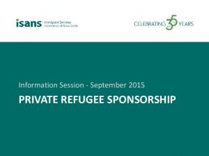 Information Session - September 2015 PRIVATE REFUGEE SPONSORSHIP