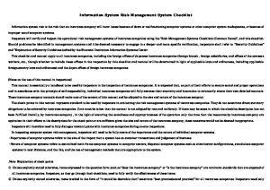 Information System Risk Management System Checklist