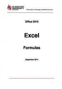 Information Technology and Media Services. Office Excel. Formulas