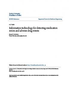 Information technology for detecting medication errors and adverse drug events