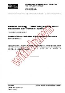 Information technology Generic coding of moving pictures and associated audio information: Systems