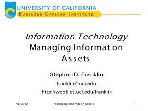 Information Technology Managing Information Assets