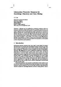 Information-Theoretic Measures for Knowledge Discovery and Data Mining