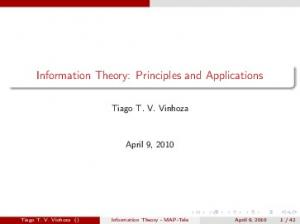 Information Theory: Principles and Applications