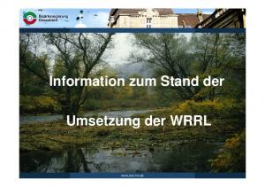 Information zum Stand der. Umsetzung der WRRL