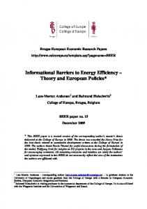Informational Barriers to Energy Efficiency Theory and European Policies*
