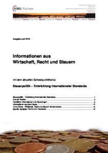 Informationen aus Wirtschaft, Recht und Steuern