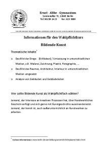 Informationen für den Wahlpflichtkurs. Bildende Kunst