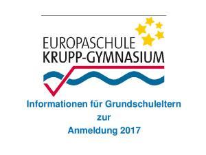 Informationen für Grundschuleltern zur Anmeldung 2017