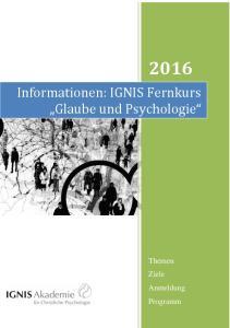 Informationen: IGNIS Fernkurs Glaube und Psychologie