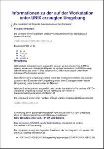 Informationen zu der auf der Workstation unter UNIX erzeugten Umgebung