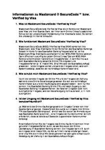 Informationen zu Mastercard SecureCode bzw. Verified by Visa