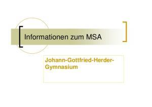 Informationen zum MSA. Johann-Gottfried-Herder- Gymnasium