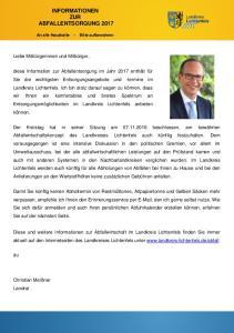 INFORMATIONEN ZUR ABFALLENTSORGUNG 2017