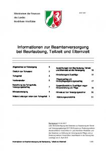 Informationen zur Beamtenversorgung bei Beurlaubung, Teilzeit und Elternzeit
