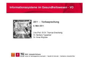Informationssysteme im Gesundheitswesen - VO