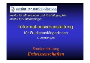 Informationsveranstaltung. Erdwissenschaften
