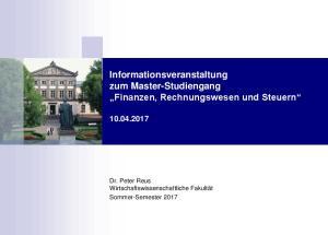 Informationsveranstaltung zum Master-Studiengang Finanzen, Rechnungswesen und Steuern