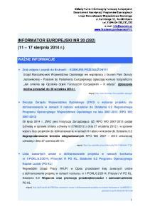 INFORMATOR EUROPEJSKI NR 20 (282) (11 17 sierpnia 2014 r.)