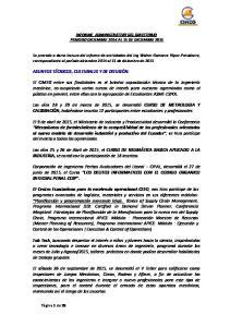 INFORME ADMINISTRATIVO DEL DIRECTORIO PERIODO DICIEMBRE 2014 AL 15 DE DICIEMBRE 2015