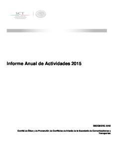 Informe Anual de Actividades 2015 DICIEMBRE 2015