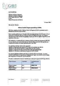 Informe Anual de Progreso presentado por Bolivia