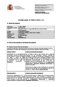 INFORME ANUAL DE PROYECTOS DE I+D+i